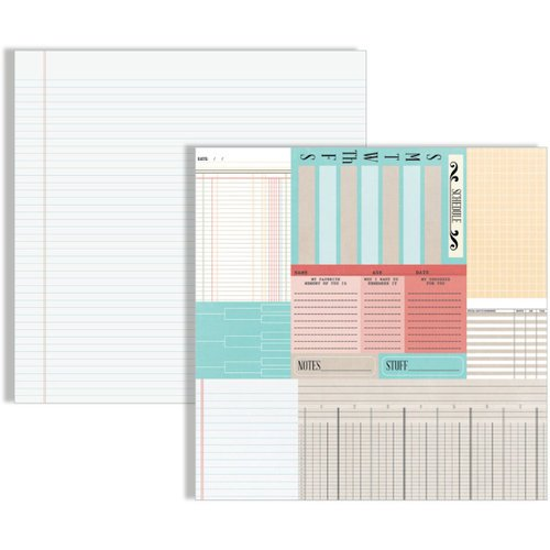 Teresa Collins - Memories Collection - 12 x 12 Double Sided Paper - Ledger Cards