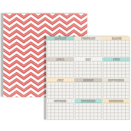 Teresa Collins - Memories Collection - 12 x 12 Double Sided Paper - Calendar