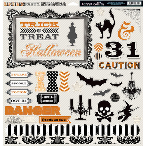 Teresa Collins - Masquerade Party Collection - 12 x 12 Die Cut Chipboard Stickers
