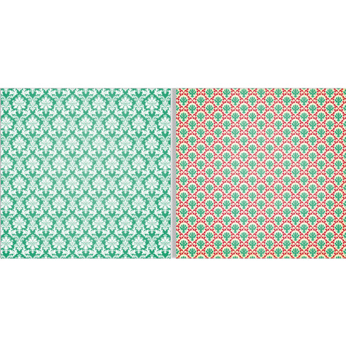 Teresa Collins - Spring Fling Collection - 12 x 12 Double Sided Paper - Green Brocade
