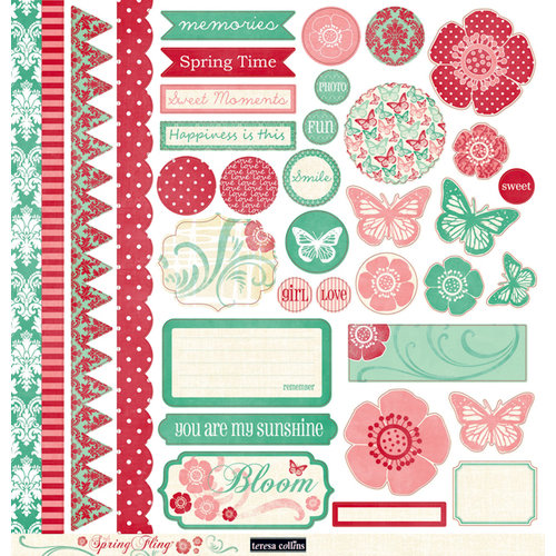 Teresa Collins - Spring Fling Collection - 12 x 12 Die Cut Paper