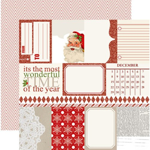 Teresa Collins - Santas List Collection - 12 x 12 Double Sided Paper with Glitter Accents - Notecards