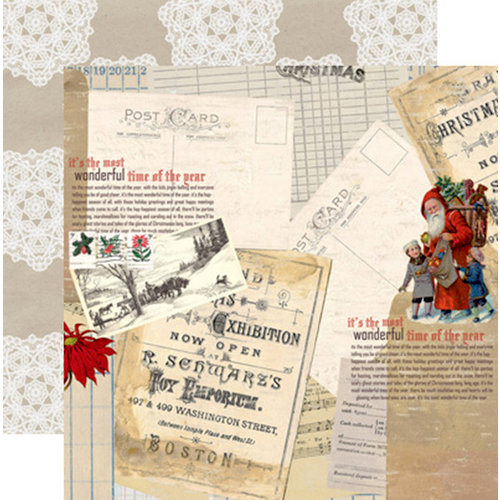 Teresa Collins Designs - Santas List Collection - 12 x 12 Double Sided Paper - Postcard