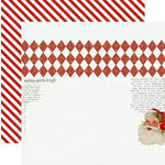 Teresa Collins - Santas List Collection - 12 x 12 Double Sided Paper with Glitter Accents - Santa