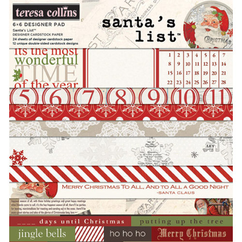 Teresa Collins - Santas List Collection - 6 x 6 Paper Pad