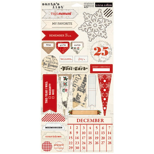 Teresa Collins - Santas List Collection - Die Cut Chipboard Stickers