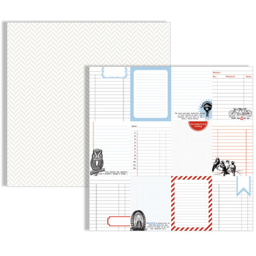 Teresa Collins - Stationery Noted Collection - 12 x 12 Double Sided Paper - Journaling Cards