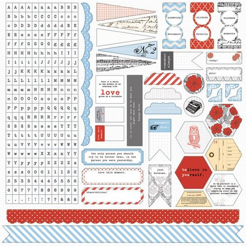 Teresa Collins - Stationery Noted Collection - 12 x 12 Cardstock Stickers