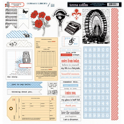 Teresa Collins - Stationery Noted Collection - 12 x 12 Die Cut Chipboard Stickers - Elements
