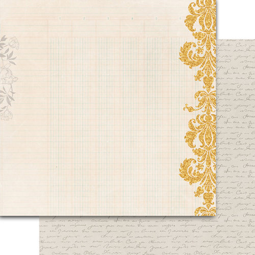 Teresa Collins - Summer Stories Collection - 12 x 12 Double Sided Paper - Damask