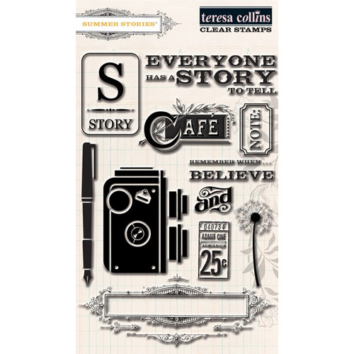 Teresa Collins - Summer Stories Collection - Clear Acrylic Stamps