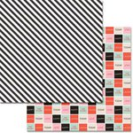 Teresa Collins - Something Wonderful Collection - 12 x 12 Double Sided Paper - Black Stripes