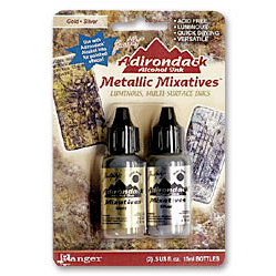 Ranger Ink - Tim Holtz - Adirondack Metallic Mixatives - 2 Pack - Gold and Silver