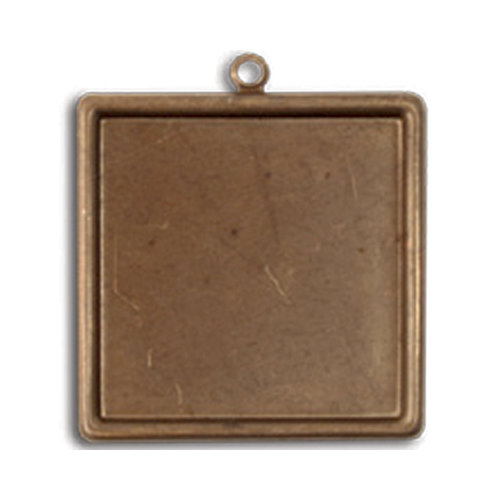 Vintaj Metal Brass Company - Metal Jewelry Charm - Classic Square Bezel