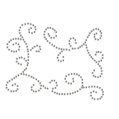 Want2Scrap - Say it With Bling - Self Adhesive Rhinestones - Funky Swirls - Silver
