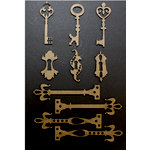 Want2Scrap - Chipboard Pieces - Card Size Antique Keys with Locks and Hardware