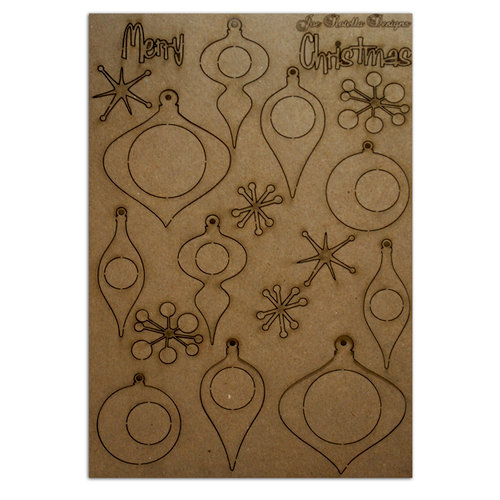 Want2Scrap - Chipboard Pieces - Retro Christmas Ornaments