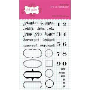 Pink Paislee - Office Lingo Collection - Clear Stamps - On Schedule, CLEARANCE