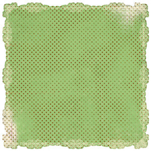 Pink Paislee - Spring Fling Collection - 12x12 Scalloped Paper - Green Lace
