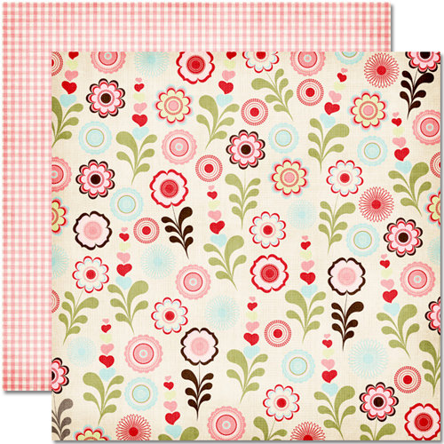 Pink Paislee - Cupid Collection - 12 x 12 Double Sided Paper - Hearts Bloom, CLEARANCE