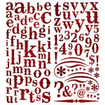 Pink Paislee - Expressions Collection - Glitter Chipboard Alphabet Stickers - Cherry