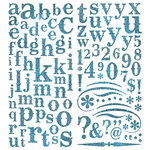 Pink Paislee - Expressions Collection - Glitter Chipboard Alphabet Stickers - Berry Blue