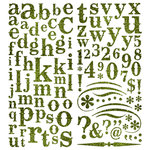 Pink Paislee - Expressions Collection - Glitter Chipboard Alphabet Stickers - Limeade