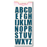 Pink Paislee - Expressions Collection - Chipboard Alphabet Stickers - Weathered Wood - Denim