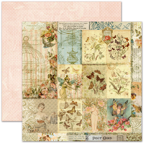 Pink Paislee - Butterfly Garden Collection - 12 x 12 Double Sided Paper - Botanical Gardens