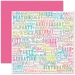 Pink Paislee - House of Three - Soiree Collection - 12 x 12 Double Sided Paper - Words