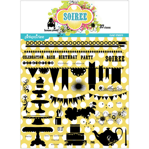 Pink Paislee - House of Three - Soiree Collection - Clear Acrylic Stamp Set