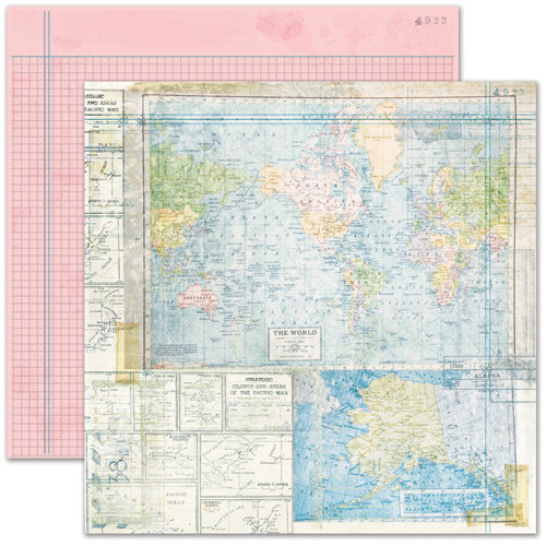 Pink Paislee - House of Three - Daily Junque Collection - 12 x 12 Double Sided Paper - Map