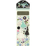 Pink Paislee - Vintage Vogue Collection - Chipboard Pops - 3 Dimensional Stickers with Glossy Accents