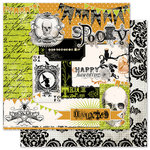 Pink Paislee - House of Three - Phantom Collection - Halloween - 12 x 12 Double Sided Paper with Glossy Accents - Haunted