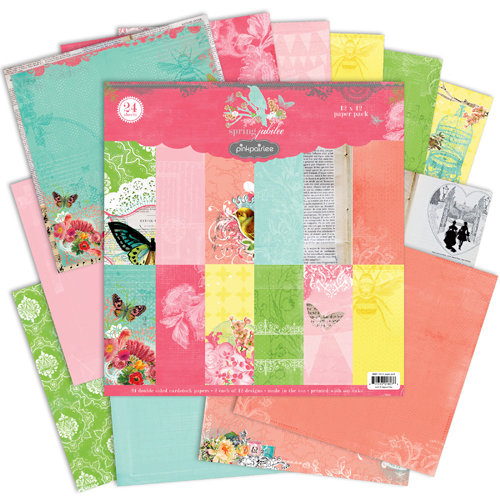 Pink Paislee - Spring Jubilee Collection - 12 x 12 Paper Pack