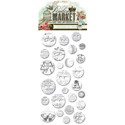 Pink Paislee - London Market Collection - Chipboard Stickers - Buttons