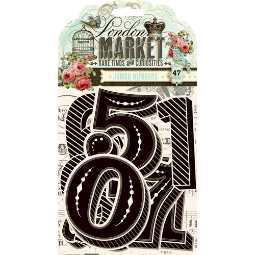 Pink Paislee - London Market Collection - Die Cut Cardstock Pieces with Varnish Accents - Jumbo Numbers
