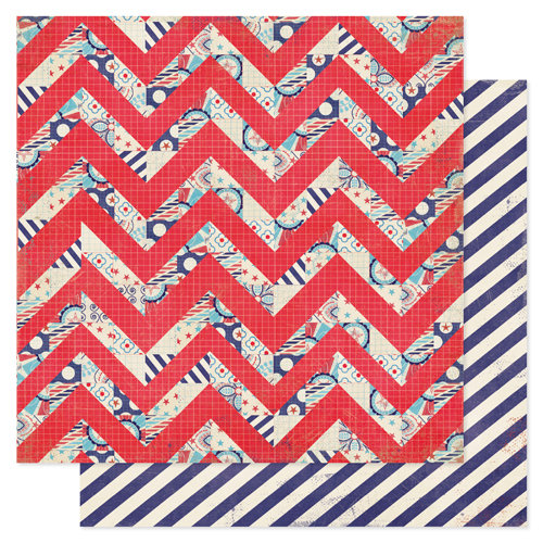Pink Paislee - Declaration Collection - 12 x 12 Double Sided Paper - Bomb Pop