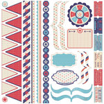 Pink Paislee - Declaration Collection - 12 x 12 Cardstock Stickers - Elements