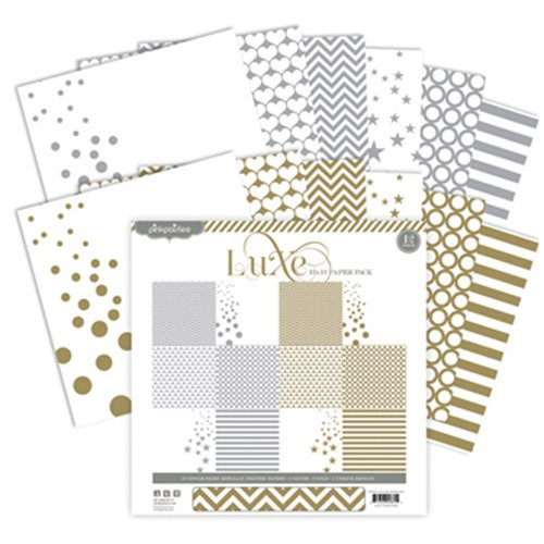 Pink Paislee - Luxe Collection - 12 x 12 Paper Pack - Silver and Gold
