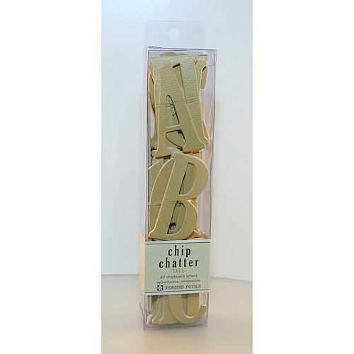 Pressed Petals - Chip Chatter - Tall Chipboard Letters - 2.5 inches - Tan