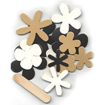 Pressed Petals - Chip Chatter - Shapes - Flowers - Black and White and Tan, CLEARANCE
