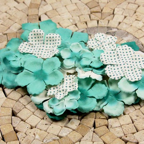 Prima - E Line - Flower Embellishments - Aqua Mix 1