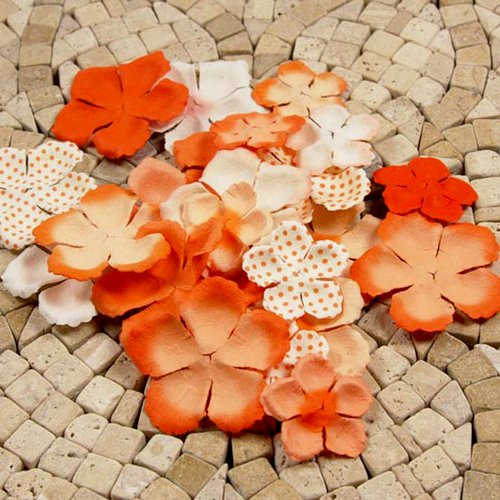 Prima - E Line - Flower Embellishments - Orange Mix 1