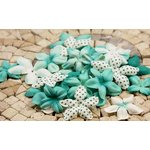 Prima - E Line - Flower Embellishments - Aqua Mix 2, CLEARANCE