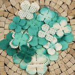 Prima - E Line - Flower Embellishments - Aqua Mix 3, CLEARANCE