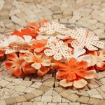 Prima - E Line - Flower Embellishments - Orange Mix 4, CLEARANCE