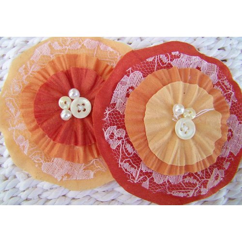 Prima - Bonnet Blooms Collection - Flowers - Orange, CLEARANCE