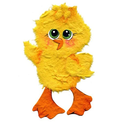 Prima - Little Darlings Collection - Handmade Animal Art - Chick, CLEARANCE