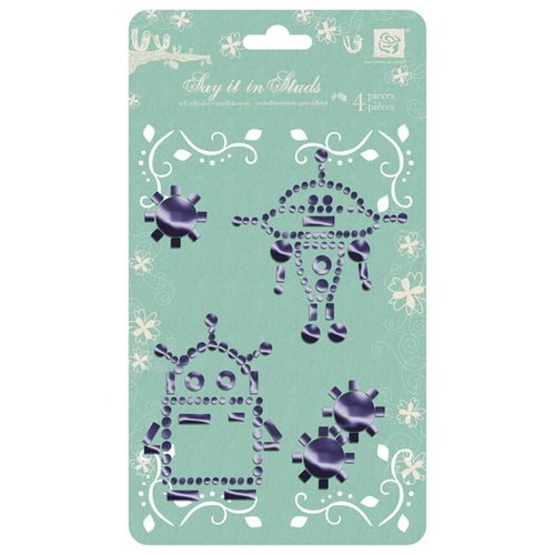 Prima - Say It In Studs Collection - Self Adhesive Jewel Art - Bling - Robot 1 - Purple, CLEARANCE